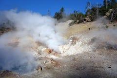 Heißer gasförmiger Dampf an Yellowstone-Park Stockbild