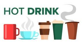 Heißer Getränk-Becher-Schalen-Vektor Kaffee, Tee keramisch Zum Mitnehmen Espresso Morgen Latte Lokalisierte flache Karikaturillus stock abbildung