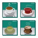 Heißer Getränk-Kaffee-Tee und grüner Tee Lizenzfreie Stockbilder