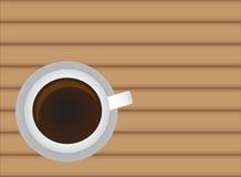 Heißer Getränkkaffee auf hölzerner Tabelle vektor abbildung