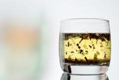Heißer grüner Tee mit jungen Teeblättern Lizenzfreies Stockfoto