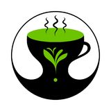 Heißer grüner Tee oder Herb Tea in der Schale mit Dampf vektor abbildung