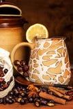 Heißer Hagebuttentee gegen Grippe Haupttiefkühlen Getrocknete Vitamine Traditionelle Volksmedizin stockbild