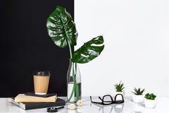 Heißer Kaffee in der braunen Papierschale und im Grün verlässt in der Glasflasche, die auf Tabelle mit Schwarzweiss-Wand auf Hint Lizenzfreies Stockfoto