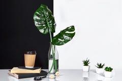 Heißer Kaffee in der braunen Papierschale und im Grün verlässt in der Glasflasche, die auf Tabelle mit Schwarzweiss-Wand auf Hint Stockfoto