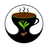 Heißer Kaffee in der Schale mit Dampf Kaffee-Aufkleber, Ausweis, Emblem stock abbildung