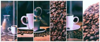 Heißer Kaffee Kaffeetürke und Schale heißer Kaffee mit Kaffeebohnen Lizenzfreies Stockbild