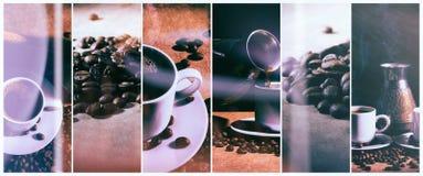 Heißer Kaffee Kaffeetürke und Schale heißer Kaffee mit Kaffeebohnen Stockfoto