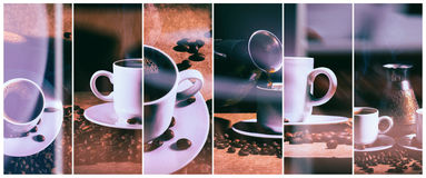 Heißer Kaffee Kaffeetürke und Schale heißer Kaffee mit Kaffeebohnen lizenzfreie stockfotografie