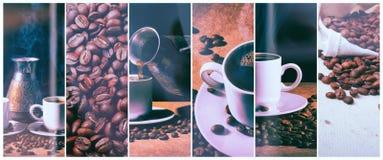 Heißer Kaffee Kaffeetürke und Schale heißer Kaffee mit Kaffeebohnen stockbilder