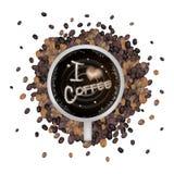 Heißer Kaffee mit i-Liebes-Kaffee-Wort Stockfoto