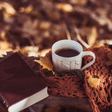 Heißer Kaffee und rotes Buch mit Herbstlaub auf dem hölzernen Saison Hintergrund - entspannen Sie sich Konzept Stockbild