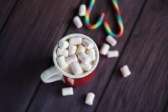 Heißer Kakao mit Eibischen und Zuckerstangen Lizenzfreies Stockfoto