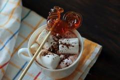 Heißer Kakao und Lutscher Stockbild