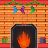 Heißer Kamin mit Geschenk Lizenzfreies Stockfoto