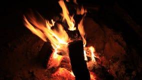 Heißer Kamin voll von Holz und Feuer Burning stock video footage