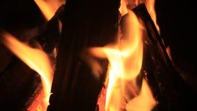 Heißer Kamin voll von Holz und Feuer Burning stock footage