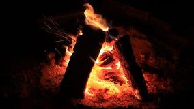 Heißer Kamin voll von Holz und Feuer Burning stock video