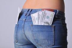 Heißer Mädchenesel mit Dollar in bar Stockbilder