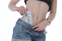 Heißer Mädchenesel mit Dollar in bar Lizenzfreie Stockbilder