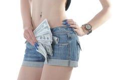 Heißer Mädchenesel mit Dollar in bar Stockfotografie