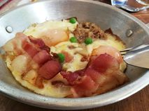 Heißer Pan Eggs briet stockfoto