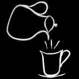 Heißer Potenziometer coffeeand weißes Cup des getrennten Schwarzen Lizenzfreie Stockbilder