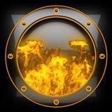 Heißer schwarzer Metallhintergrund mit Feuer Lizenzfreies Stockbild