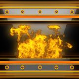 Heißer schwarzer Metallhintergrund mit Feuer Lizenzfreies Stockfoto