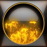 Heißer schwarzer Metallhintergrund mit Feuer Stockfoto