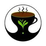 Heißer schwarzer Tee in der Schale mit Dampf Tee-Aufkleber, Zeichen vektor abbildung