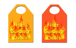 Heißer Sommer behandelt Marke. Lizenzfreies Stockfoto