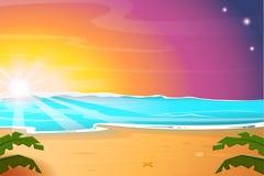Heißer Sommer-Sonnenaufgang auf dem Strand RAUM FÜR BEDECKUNGSschlagzeile UND TEXT Auch im corel abgehobenen Betrag stock abbildung