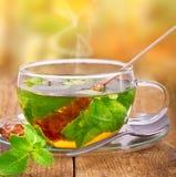 Heißer Tee im Glas Stockfotos