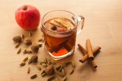 Heißer Tee mit Apfel, Zimt und Kardamom lizenzfreie stockfotos