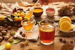 Heißer Tee mit Zitrone und Honig Stockbilder