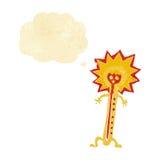 heißer Thermometer der Karikatur mit Gedankenblase Lizenzfreies Stockfoto