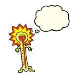 heißer Thermometer der Karikatur mit Gedankenblase Stockfotografie