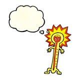 heißer Thermometer der Karikatur mit Gedankenblase Stockbild