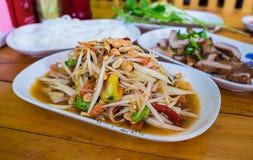 Heißer und würziger Papayasalat des thailändischen Lebensmittels Lizenzfreies Stockbild