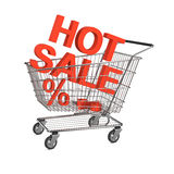 Heißer Verkaufs-Einkaufswagen auf dem weißen Hintergrund Lizenzfreie Stockfotografie