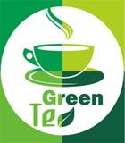 Heißes Blatt des grünen Tees des Logos Stockbilder