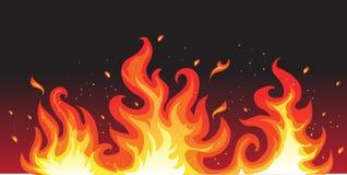 Heißes Feuer auf Schwarzem Stockfoto