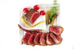 Heißes gegrilltes Fleisch und Gemüse Stockfotografie