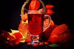 Heißes Getränk des Herbstes mit wildem stieg auf Retro- rustikalen Physalis Art des hölzernen Hintergrundes in einem Korb Stockbild
