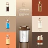 Heißes Glas und Rezept der Kaffeemischung mit flacher Art Vektor illustra Lizenzfreie Stockfotos