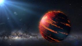 Heißes Jupiter-Klasse exoplanet, Gasrieseplanet beleuchtete durch eine ausländische Raum-Wiedergabe des Sternes 3d lizenzfreie abbildung