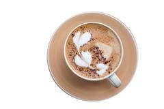 Heißes Kaffeekunst-Motivherz stockbilder