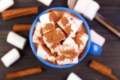 Heißes Kakaogetränk mit Eibischen Stockfoto