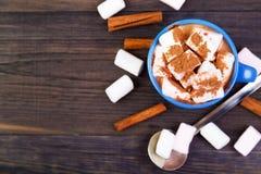 Heißes Kakaogetränk mit Eibischen Stockfotos